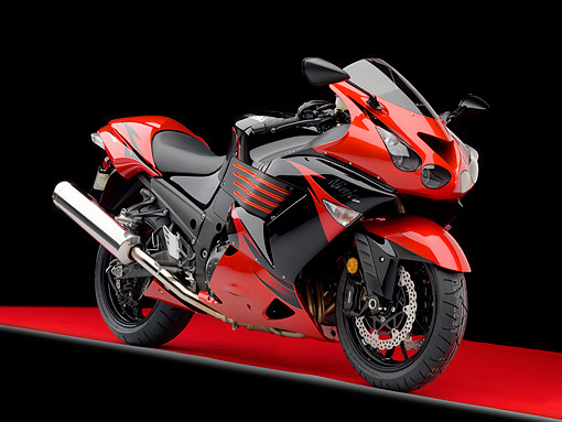 MOT 02 RK0436 01 © Kimball Stock 2009 Kawasaki ZX-14 Black And Red 3/4 Front View Studio