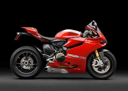 MOT 02 RK0441 01 © Kimball Stock 2013 Ducati Superbike 1199 Panigale R Red Profile View In Studio