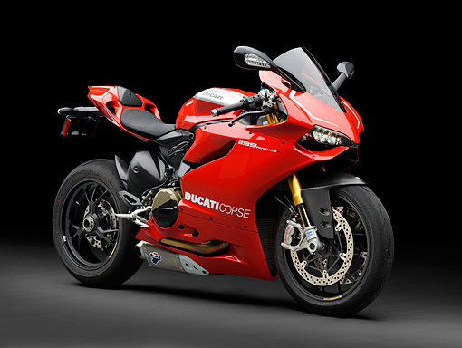 MOT 02 RK0442 01 © Kimball Stock 2013 Ducati Superbike 1199 Panigale R Red 3/4 Front View In Studio