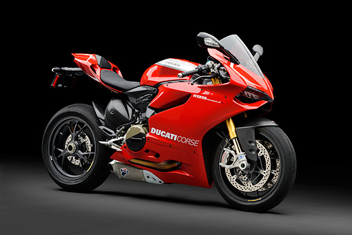 MOT 02 RK0443 01 © Kimball Stock 2013 Ducati Superbike 1199 Panigale R Red 3/4 Front View In Studio