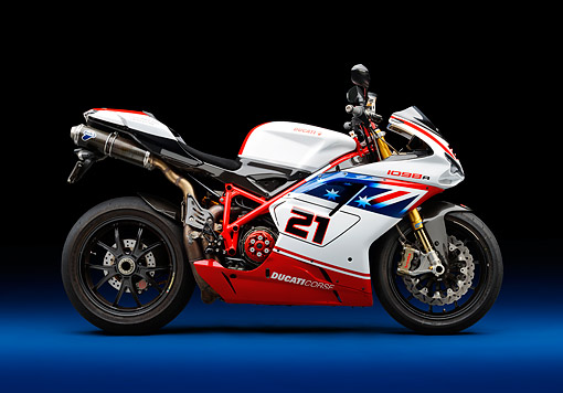 MOT 02 RK0444 01 © Kimball Stock 2008 Ducati Superbike 1098 R Red, White And Blue Profile View In Studio