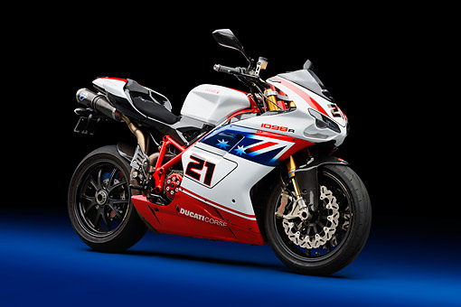 MOT 02 RK0445 01 © Kimball Stock 2008 Ducati Superbike 1098 R Red, White And Blue 3/4 Front View In Studio