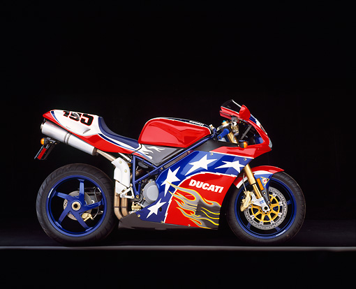 MOT 02 RK0077 09 © Kimball Stock 2002 Ducati 998 Ben Bostrom Replica Patriotic Profile View On Gray Line Studio