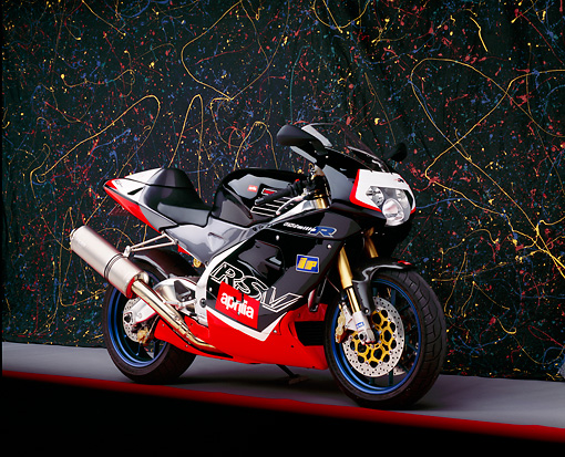 MOT 02 RK0087 01 © Kimball Stock 2000 Aprilia RSV Mille R Red And Black 3/4 Front Studio