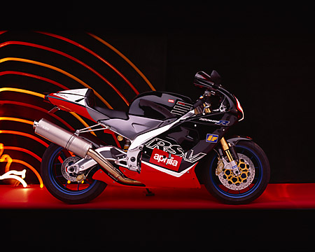 MOT 02 RK0091 01 © Kimball Stock 2000 Aprilia RSV Mille R Red And Black Profile View Studio
