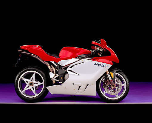 MOT 02 RK0186 03 © Kimball Stock 2003 MV Agusta Red And Silver Side View On Purple Floor Gray Line Studio