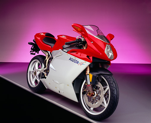 MOT 02 RK0187 06 © Kimball Stock 2003 MV Agusta Red And Silver 3/4 Front View On Gray Line Purple Shading Studio