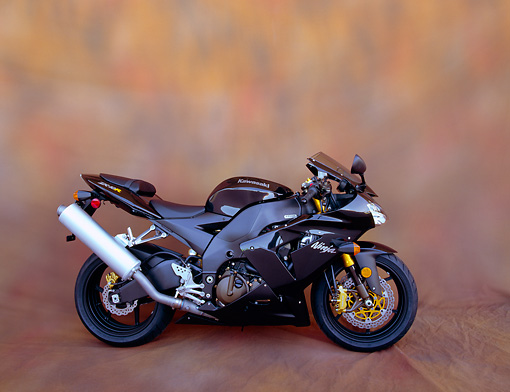 MOT 02 RK0207 06 © Kimball Stock 2004 Kawasaki Ninja 2X-10R Black Profile On Brown Mottled Background