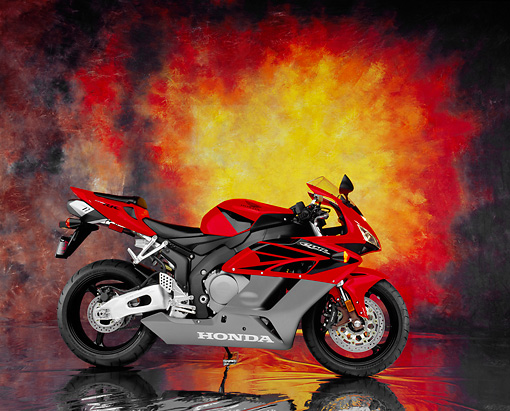 MOT 02 RK0209 05 © Kimball Stock 2004 Honda CBR 1000RR Red Profile View Studio