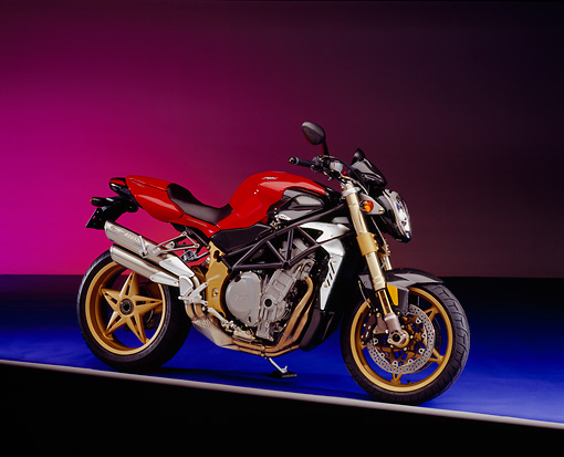MOT 02 RK0259 03 © Kimball Stock 2004 MV Agusta Brutale Oro Red 3/4 Side View On Purple Floor And Shading Studio