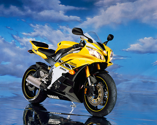 MOT 02 RK0291 11 © Kimball Stock 2006 Yamaha YZF 600 R6 Yellow 3/4 Front View Cloudy Blue Sky Studio