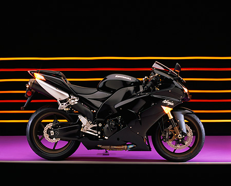 MOT 02 RK0295 01 © Kimball Stock 2006 Kawasaki ZX-10R Black Profile View On Purple Floor Colorful Lines Studio
