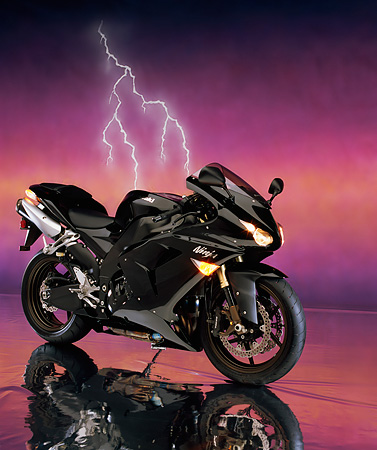 MOT 02 RK0297 04 © Kimball Stock 2006 Kawasaki ZX-10R Black Side 3/4 View On Mylar Floor Lightning Studio