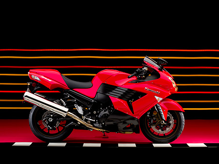 MOT 02 RK0329 01 © Kimball Stock 2006 Kawasaki ZX-14 Red Profile View On Checkered Line Studio