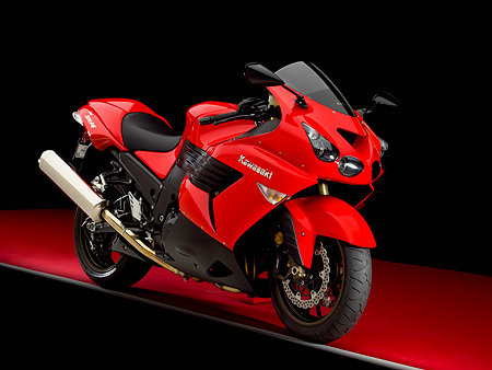 MOT 02 RK0330 01 © Kimball Stock 2006 Kawasaki ZX-14 Red Front 3/4 View On Red Floor Studio