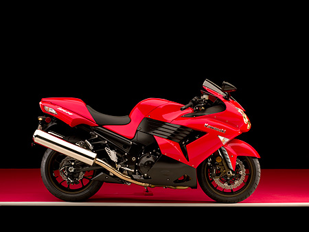 MOT 02 RK0331 01 © Kimball Stock 2006 Kawasaki ZX-14 Red Profile View On Red Floor Studio