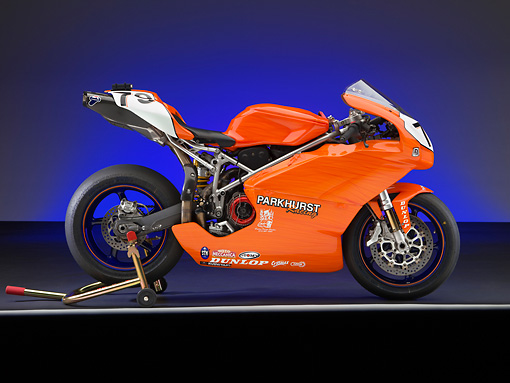 MOT 02 RK0379 01 © Kimball Stock 2006 Ducati 999 Orange Profile View Studio