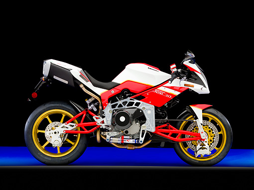 MOT 02 RK0387 01 © Kimball Stock 2008 Bimota Tesi 3D White And Red Profile View Studio