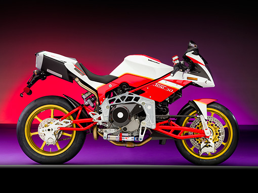 MOT 02 RK0388 01 © Kimball Stock 2008 Bimota Tesi 3D White And Red Profile View Studio