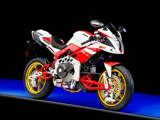 MOT 02 RK0389 01 © Kimball Stock 2008 Bimota Tesi 3D White And Red 3/4 Front View Studio