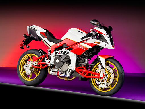 MOT 02 RK0390 01 © Kimball Stock 2008 Bimota Tesi 3D White And Red 3/4 Front View Studio
