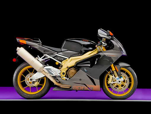 MOT 02 RK0393 01 © Kimball Stock 2007 Aprilia RSV 1000 R Factory Black Profile View Studio