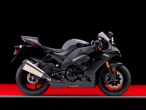 MOT 02 RK0411 01 © Kimball Stock 2008 Kawasaki Ninja ZX-10R Motorcycle Black Profile View Studio