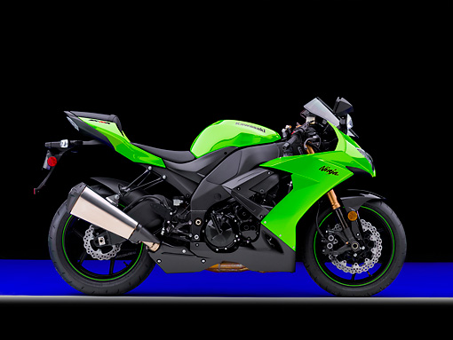 MOT 02 RK0419 01 © Kimball Stock 2008 Kawasaki Ninja ZX-10R Motorcycle Green Profile View Studio