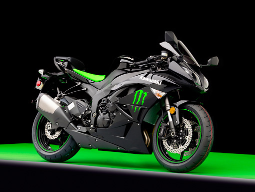 MOT 02 RK0433 01 © Kimball Stock 2009 Kawasaki ZX600 Monster Edition Black And Green 3/4 Front View Studio