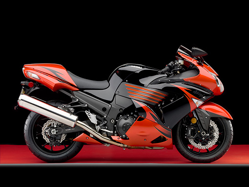 MOT 02 RK0435 01 © Kimball Stock 2009 Kawasaki ZX-14 Black And Red Profile View Studio