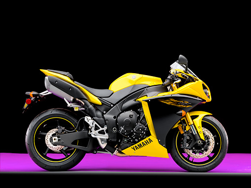 MOT 02 RK0439 01 © Kimball Stock 2009 Yamaha YZF-R1 Black And Yellow Profile View Studio