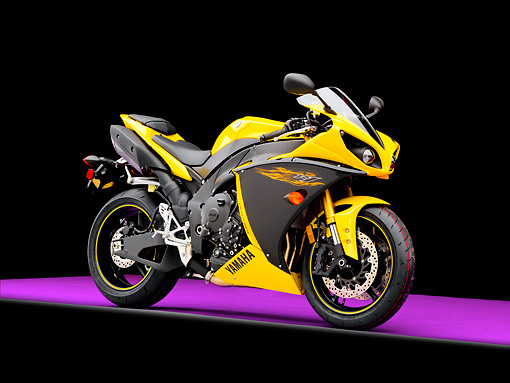 MOT 02 RK0440 01 © Kimball Stock 2009 Yamaha YZF-R1 Black And Yellow 3/4 Front View Studio