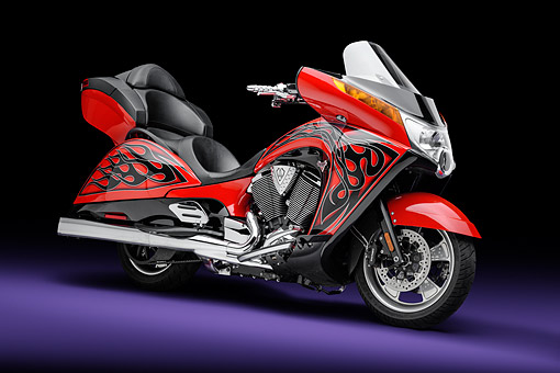 MOT 03 RK0012 01 © Kimball Stock 2013 Victory Vision Motorcycle Red With Black Flames 3/4 Front View In Studio
