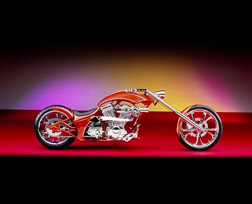 MOT 04 RK0115 03 © Kimball Stock 2005 Westbury Custom Chopper Candy Rust Side View On Red Floor Purple Lighting Studio