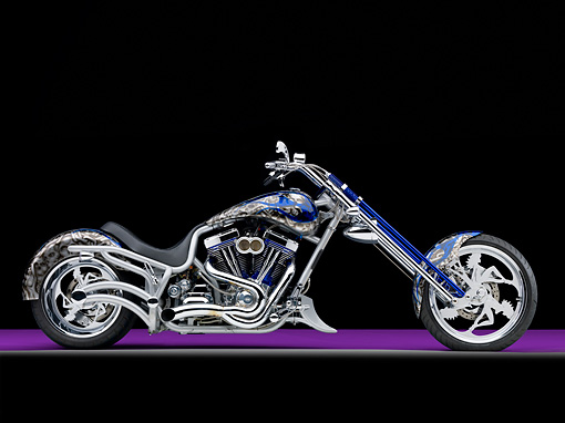 MOT 04 RK0287 01 © Kimball Stock 2005 Bourget Fat Daddy Chopper Gray And Blue Profile View Studio