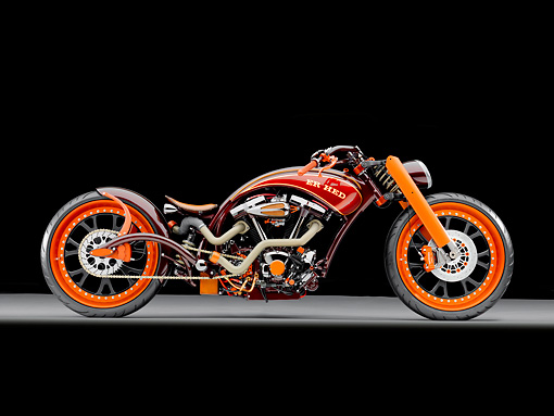 MOT 04 RK0295 01 © Kimball Stock 2004 AFT Customs Yamaha ER HED Custom Chopper Red And Orange Profile View Studio