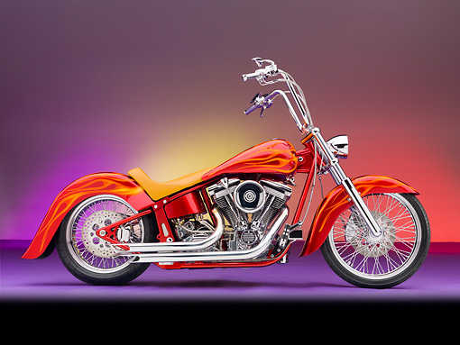 MOT 04 RK0300 01 © Kimball Stock Bellotti's Inferno Custom Chopper Red With Orange Flames Profile View Studio