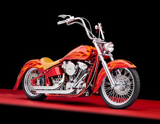 MOT 04 RK0302 01 © Kimball Stock Bellotti's Inferno Custom Chopper Red With Orange Flames 3/4 Side View Studio