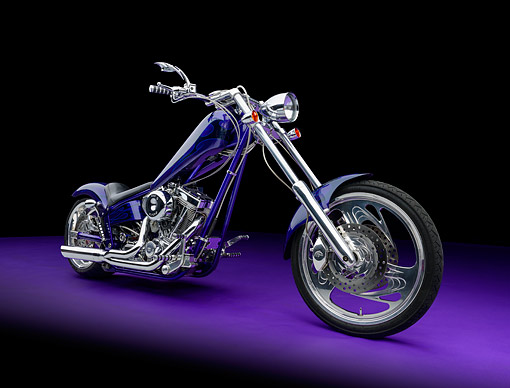 2003 Ironhorse Texas Chopper Purple And Blue 3/4 Front View
