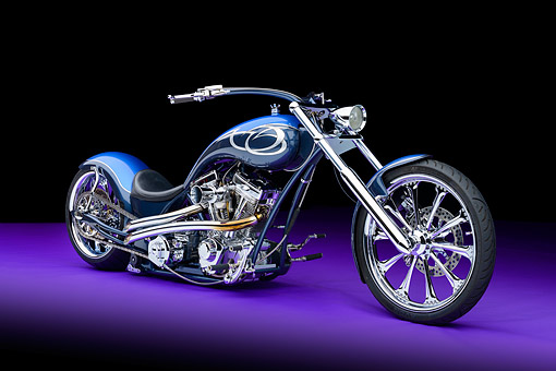 MOT 04 RK0354 01 © Kimball Stock 2013 Riff Raff Customs Softail Blue And Gunmetal 3/4 Front View In Studio