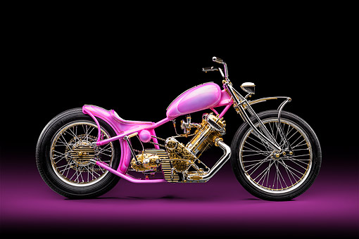 MOT 04 RK0357 01 © Kimball Stock 1949 Panther M100 Chopper Panther Pink By Andrew Ursich Profile View In Studio