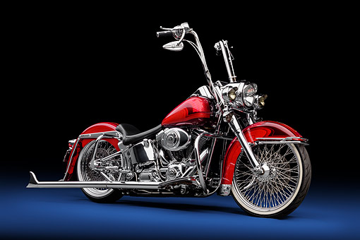 MOT 04 RK0360 01 © Kimball Stock 2000 Harley-Davidson Heritage Softail Chopper Red 3/4 Front View In Studio