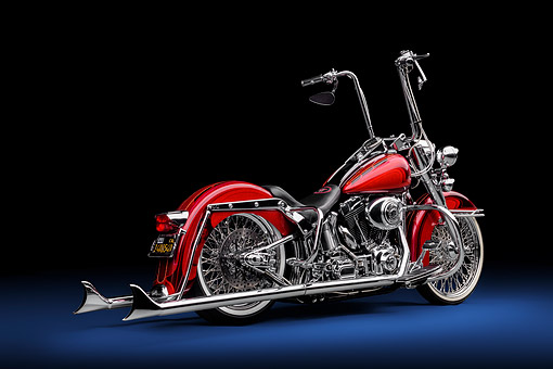 MOT 04 RK0361 01 © Kimball Stock 2000 Harley-Davidson Heritage Softail Chopper Red 3/4 Rear View In Studio