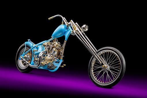 MOT 04 RK0366 01 © Kimball Stock 2015 Andrew Ursich Knucklehead Chopper Blue With Chrome And Gold 3/4 Front View In Studio