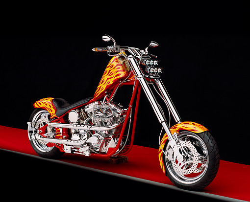 MOT 04 RK0004 22 © Kimball Stock 2004 California Chopper Custom Red Yellow Flames Side 3/4 View On Red Floor Gray Line Studio