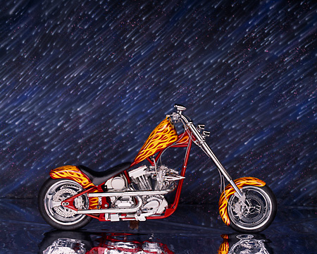 MOT 04 RK0007 09 © Kimball Stock 2004 California Chopper Custom Red Yellow Flames