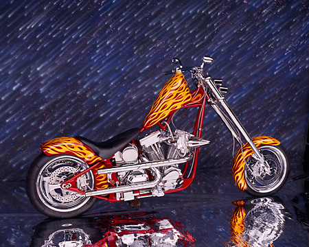MOT 04 RK0008 01 © Kimball Stock 2004 California Chopper Custom Red Yellow Flames