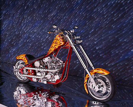 MOT 04 RK0010 01 © Kimball Stock 2004 California Chopper Custom Red Yellow Flames