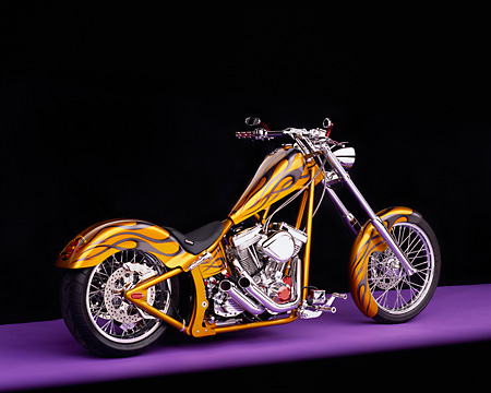 MOT 04 RK0015 06 © Kimball Stock 2004 Coastside Custom Chopper Gold With Flames