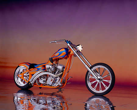 MOT 04 RK0023 02 © Kimball Stock 2003 Riff Raff Custom Chopper Orange Blue Flames